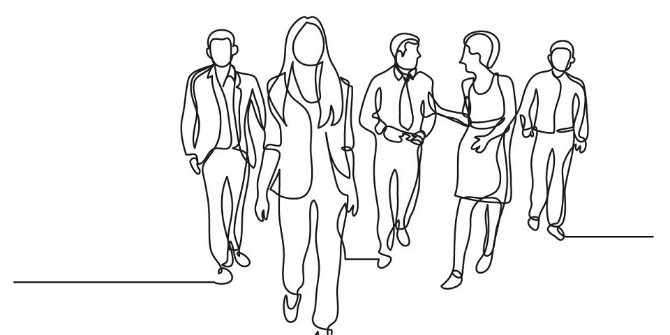 line drawing of people walking and talking